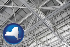 new-york map icon and a prefabricated ceiling